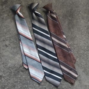 Vintage Clip On Brown & Gray Striped Ties